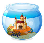 A castle inside a fishbowl — Stock Vector