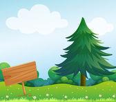 An empty wooden signboard at the garden — Stock Vector