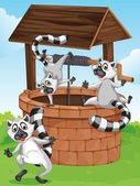 Three lemurs at the man-made well — Stock Vector