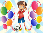 A soccer player in the middle of the balloons — Stock Vector