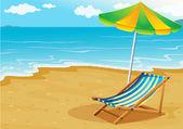 A seashore with a bench and an umbrella — Stock Vector