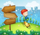 A boy playing skateboard beside the wooden arrows — Stock Vector