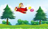 A monkey riding in an aircarft with two balloons — Stock Vector