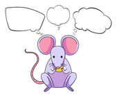 A mouse eating cheese with empty callouts — Stock Vector
