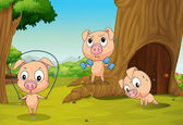Three pigs at the forest — Stock Vector