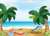 A girl relaxing at the beach — Stock Vector