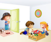Three kids inside the house with a box of toys — Stock Vector