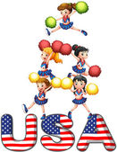 The USA cheering squad — Stock Vector