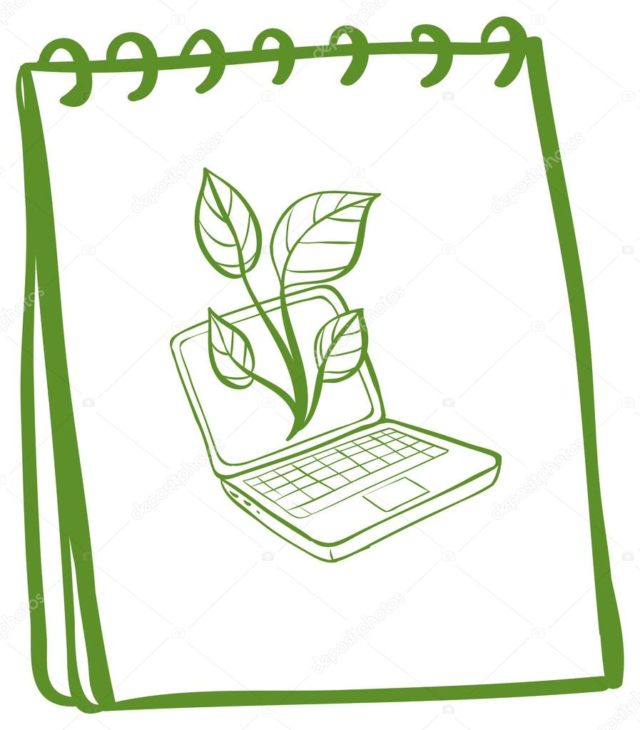 a notebook a sketch of a laptop at the cover page stock illustration of a notebook a sketch of a laptop at the cover page on a white background vector by interactimages