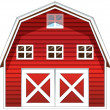 Stock Vector: Red barn house