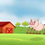 un cochon sautant à la ferme — Vecteur