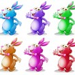 Stock Vector: Six colorful bunnies