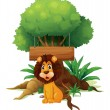 A lion in front of an empty wooden signboard — Stock Vector