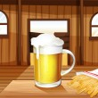 A mug of cold beer and french fries at the saloon bar — Stock Vector