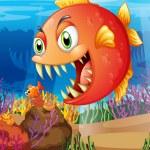 Постер, плакат: A predator and a prey under the sea
