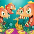 A seahorse surrounded by a group of hungry piranhas - Imagens vectoriais em stock