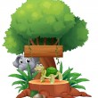Royalty-Free Stock Vector Image: A turtle and an elephant under the big tree with a wooden signbo