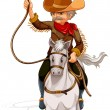 A cowboy riding a horse while holding a rope - Stock Vector
