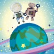A boy and a robbot in the outer space - Stock Vector