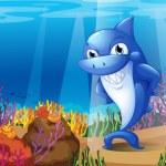 A scary blue shark under the sea — Stock Vector