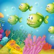 A group of green piranhas under the sea - Stock Vector