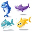 Stock Vector: Group of sharks