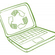 A laptop with a recycle symbol - Imagen vectorial
