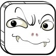 A square with a scary face - Stock Vector