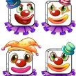 Four square faces of a clown — ベクター素材ストック