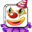 A square-faced clown with a party hat — Stock Vector