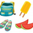 A backpack, a pair of slippers and foods for refreshment - Stock Vector