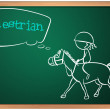A blackboard with a drawing of an equestrian — Stock Vector
