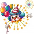 A clown with balloons and a firework display — Stock Vector