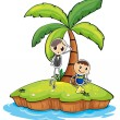 An island with two boys — Stock Vector