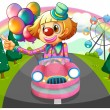 A pink car with a female clown - Stock Vector