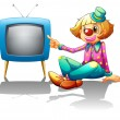 A clown sitting beside the television — Stock Vector