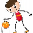 A boy dribbling a ball — Stock Vector