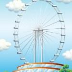 A stadium with a big ferris wheel — Stock Vector