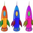 Three colorful spaceships - Stock Vector