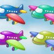 Four toy planes in the sky — Stock Vector