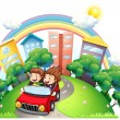 Royalty-Free Stock Vector Image: A girl and a boy riding at the car along the road