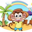 A monkey at the beach — Imagen vectorial