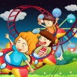 Three kids riding in a roller coaster - Imagen vectorial