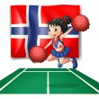 The flag of Norway with a cheerdancer - Stock Vector