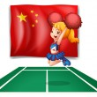 Stock Vector: The flag of China and the young cheerdancer
