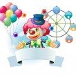 A clown with a signage and a ferris wheel and balloons at the ba — Imagen vectorial