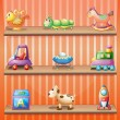 Royalty-Free Stock Vector Image: Three wooden shelves with toys