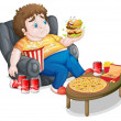 A fat boy in front of a lots of foods — Stock Vector