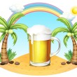 Stock Vector: A glass of beer at the beach