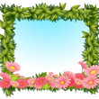 A framed leaves with pink flowers — Stock Vector